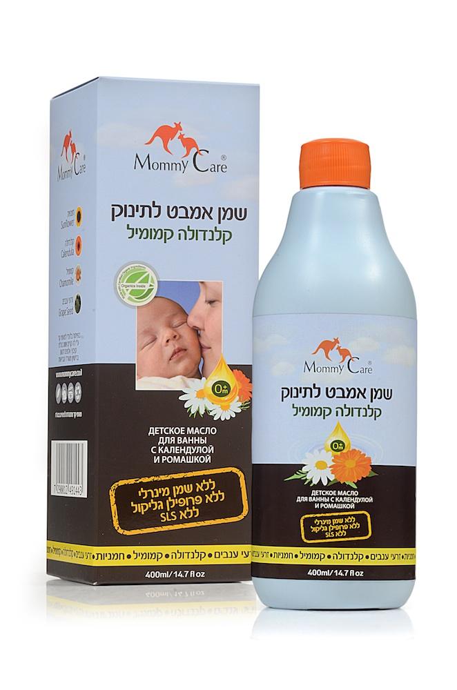 Mommy Care Детское масло для ванны с календулой и ромашкой 400 мл12267421Тонкая чувствительная кожа новорожденного требует тщательного и нежного ухода. Специальное масло с календулой и ромашкой для детских ванночек Mommy Care способствует сохранению естественного баланса тонкой детской кожи и защищает ее от обезвоживания. Оно содержит только растительные органические масла: масло подсолнечника, календулы, ромашки и виноградных косточек, известные своими защитными, восстанавливающими и увлажняющими свойствами. Особая формула позволяет маслу равномерно распределяться в воде в виде мельчайших пузырьков, не образуя масляных пятен на поверхности воды. Ежедневное применение масла помогает предотвратить раздражения и покраснения кожи и справиться с имеющимися. Масло не содержит пропиленгликоля, минеральных масел, парабенов, а также синтетических отдушек и красителей. В составе масла отсутствуют арахисовое и соевое масла, которые могут вызывать аллергические реакции.