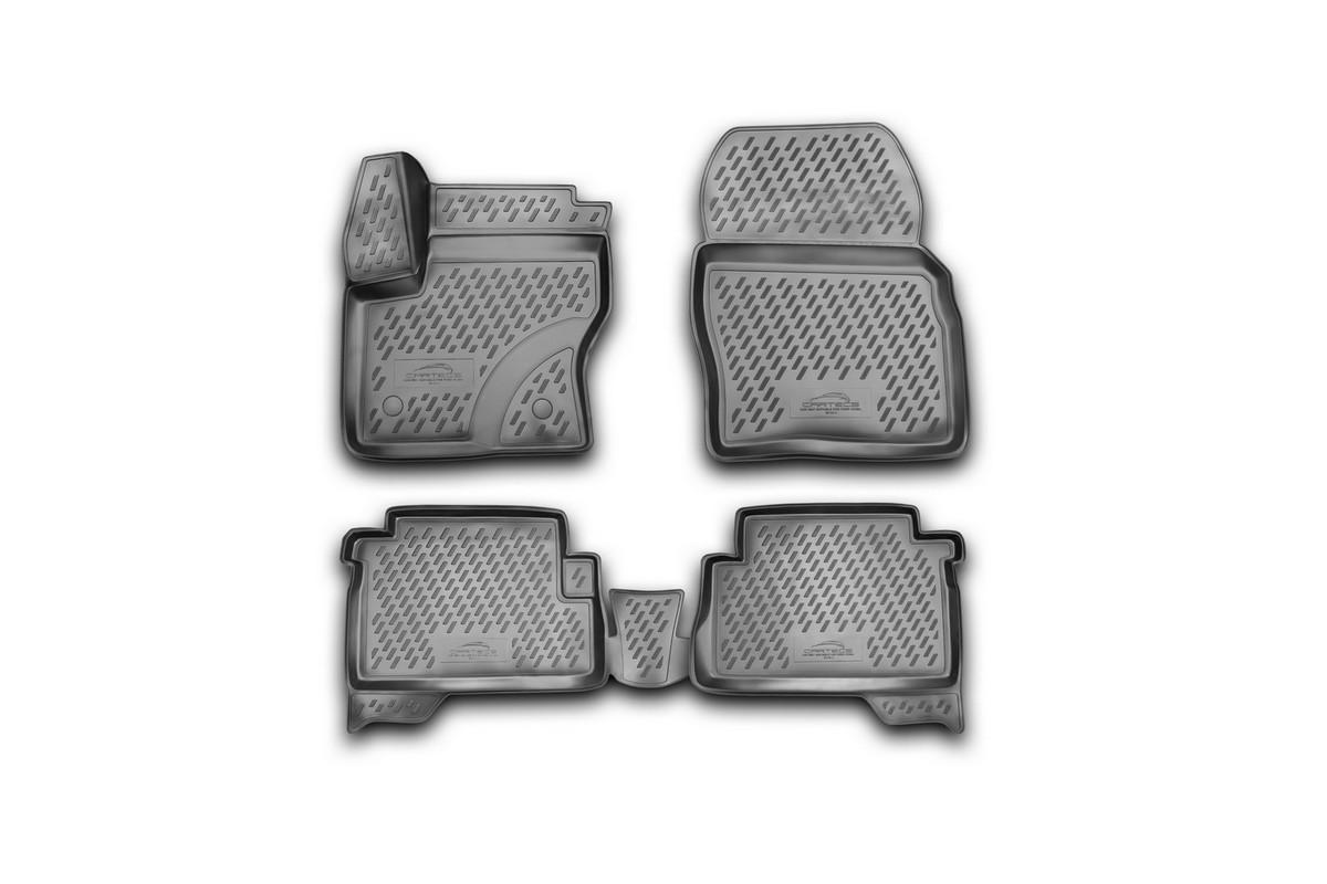 Набор автомобильных 3D-ковриков Novline-Autofamily для Ford Kuga, 2013->, в салон, 4 штCARFRD00009kНабор Novline-Autofamily состоит из 4 ковриков, изготовленных из полиуретана.Основная функция ковров - защита салона автомобиля от загрязнения и влаги. Это достигается за счет высоких бортов, перемычки на тоннель заднего ряда сидений, элементов формы и текстуры, свойств материала, а также запатентованной технологией 3D-перемычки в зоне отдыха ноги водителя, что обеспечивает дополнительную защиту, сохраняя салон автомобиля в первозданном виде.Материал, из которого сделаны коврики, обладает антискользящими свойствами. Для фиксации ковров в салоне автомобиля в комплекте с ними используются специальные крепежи. Форма передней части водительского ковра, уходящая под педаль акселератора, исключает нештатное заедание педалей.Набор подходит для Ford Kuga с 2013 года выпуска.