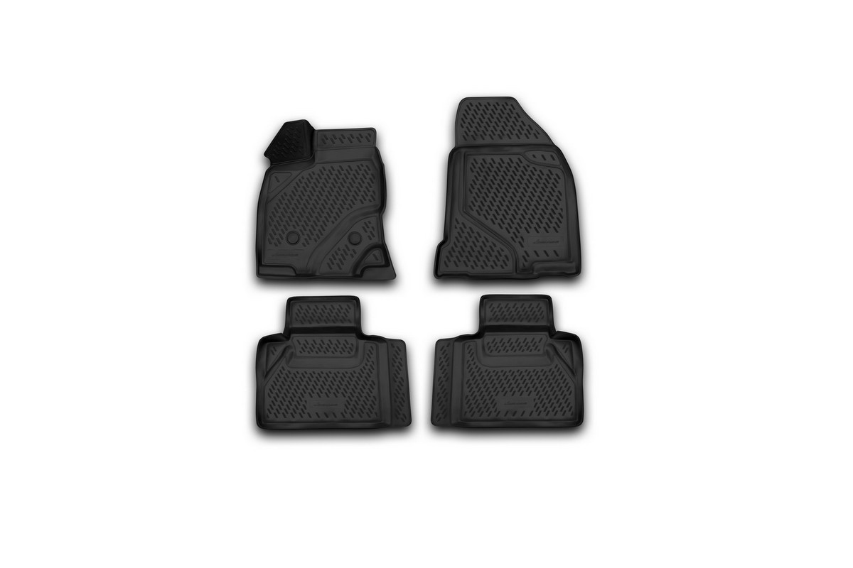 Набор автомобильных 3D-ковриков Novline-Autofamily для Ford Edge, 2013->, в салон, 4 штNLC.28.12.210hНабор Novline-Autofamily состоит из 4 ковриков, изготовленных из полиуретана.Основная функция ковров - защита салона автомобиля от загрязнения и влаги. Это достигается за счет высоких бортов, перемычки на тоннель заднего ряда сидений, элементов формы и текстуры, свойств материала, а также запатентованной технологией 3D-перемычки в зоне отдыха ноги водителя, что обеспечивает дополнительную защиту, сохраняя салон автомобиля в первозданном виде.Материал, из которого сделаны коврики, обладает антискользящими свойствами. Для фиксации ковров в салоне автомобиля в комплекте с ними используются специальные крепежи. Форма передней части водительского ковра, уходящая под педаль акселератора, исключает нештатное заедание педалей.Набор подходит для Ford Edge с 2013 года выпуска.