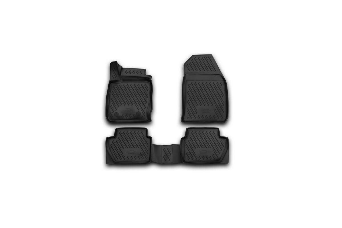Набор автомобильных 3D-ковриков Novline-Autofamily для Ford EcoSport, 2014->, в салон, 4 штCARFRD00025kНабор Novline-Autofamily состоит из 4 ковриков, изготовленных из полиуретана.Основная функция ковров - защита салона автомобиля от загрязнения и влаги. Это достигается за счет высоких бортов, перемычки на тоннель заднего ряда сидений, элементов формы и текстуры, свойств материала, а также запатентованной технологией 3D-перемычки в зоне отдыха ноги водителя, что обеспечивает дополнительную защиту, сохраняя салон автомобиля в первозданном виде.Материал, из которого сделаны коврики, обладает антискользящими свойствами. Для фиксации ковров в салоне автомобиля в комплекте с ними используются специальные крепежи. Форма передней части водительского ковра, уходящая под педаль акселератора, исключает нештатное заедание педалей.Набор подходит для Ford EcoSport с 2014 года выпуска.