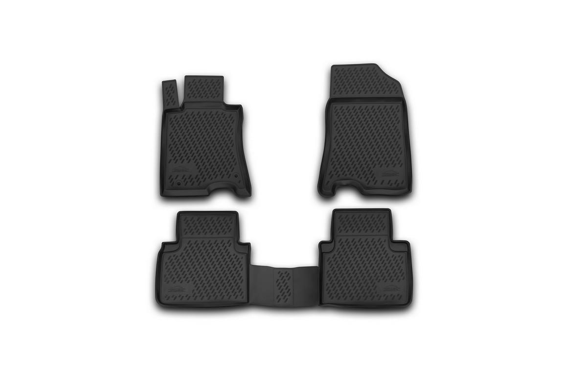 Набор автомобильных ковриков Novline-Autofamily для Honda Crosstour 2wd 01/2013-, в салон, 4 штDH2400D/ORНабор автомобильных ковриков Novline-Autofamily, изготовленный из полиуретана, состоит из 4 ковриков, которые учитывают все особенности каждой модели автомобиля и полностью повторяют контуры пола. Полиуретановые автомобильные коврики для салона произведены из высококачественного материала, который держит форму, прочный и не пачкает обувь. Коврики в салон не только улучшат внешний вид салона вашего автомобиля, но и надежно уберегут его от пыли, грязи и сырости, а значит, защитят кузов от коррозии. Полиуретановые коврики для автомобиля гладкие, приятные и не пропускают влагу. Ковры для автомобилей надежно крепятся на полу и не скользят, что очень важно во время движения. Чистятся коврики очень просто: как при помощи автомобильного пылесоса, так и различными моющими средствами. Набор подходит для Honda Crosstour 2wd с января 2013 года выпуска.