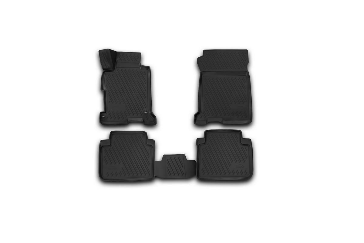 Набор автомобильных 3D-ковриков Novline-Autofamily для Honda Accord, 2013->, в салон, 4 штCARLD00001kНабор Novline-Autofamily состоит из 4 ковриков, изготовленных из полиуретана.Основная функция ковров - защита салона автомобиля от загрязнения и влаги. Это достигается за счет высоких бортов, перемычки на тоннель заднего ряда сидений, элементов формы и текстуры, свойств материала, а также запатентованной технологией 3D-перемычки в зоне отдыха ноги водителя, что обеспечивает дополнительную защиту, сохраняя салон автомобиля в первозданном виде.Материал, из которого сделаны коврики, обладает антискользящими свойствами. Для фиксации ковров в салоне автомобиля в комплекте с ними используются специальные крепежи. Форма передней части водительского ковра, уходящая под педаль акселератора, исключает нештатное заедание педалей.Набор подходит для Honda Accord с 2013 года выпуска.