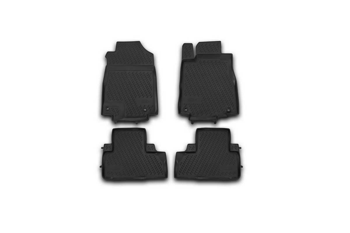 Набор автомобильных ковриков Novline-Autofamily для Honda CR-V 2012-2015, 2015-, в салон, цвет: черный, 4 штАксион Т-33Набор автомобильных ковриков Novline-Autofamily, изготовленный из полиуретана, состоит из 4 ковриков, которые учитывают все особенности каждой модели автомобиля и полностью повторяют контуры пола. Полиуретановые автомобильные коврики для салона произведены из высококачественного материала, который держит форму, прочный и не пачкает обувь. Коврики в салон не только улучшат внешний вид салона вашего автомобиля, но и надежно уберегут его от пыли, грязи и сырости, а значит, защитят кузов от коррозии. Полиуретановые коврики для автомобиля гладкие, приятные и не пропускают влагу. Ковры для автомобилей надежно крепятся на полу и не скользят, что очень важно во время движения. Чистятся коврики очень просто: как при помощи автомобильного пылесоса, так и различными моющими средствами. Набор подходит для Honda CR-V 2012-2015, 2015 и позднее годов выпуска.