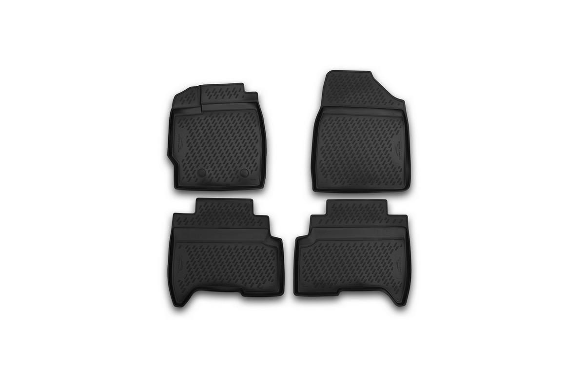 Набор автомобильных 3D-ковриков Novline-Autofamily для Lifan X50, 2015->, кроссовер, в салон, 4 штВетерок 2ГФНабор Novline-Autofamily состоит из 4 ковриков, изготовленных из полиуретана.Основная функция ковров - защита салона автомобиля от загрязнения и влаги. Это достигается за счет высоких бортов, перемычки на тоннель заднего ряда сидений, элементов формы и текстуры, свойств материала, а также запатентованной технологией 3D-перемычки в зоне отдыха ноги водителя, что обеспечивает дополнительную защиту, сохраняя салон автомобиля в первозданном виде.Материал, из которого сделаны коврики, обладает антискользящими свойствами. Для фиксации ковров в салоне автомобиля в комплекте с ними используются специальные крепежи. Форма передней части водительского ковра, уходящая под педаль акселератора, исключает нештатное заедание педалей.Набор подходит для Lifan X50 кроссовер с 2015 года выпуска.