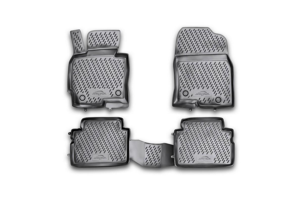 Коврики в салон автомобиля Novline-Autofamily для Mazda CX-5, 2011 -, 4 штTEMP-05Коврики Novline-Autofamily улучшат внешний вид салона автомобиля и надежно уберегут его от пыли, грязи и сырости, а значит, защитят кузов от коррозии. Полиуретановые коврики гладкие, приятные и не пропускает влагу. Полиуретановые автомобильные коврики произведены из высококачественного материала, который держит форму и не пачкает обувь. Коврики надежно крепятся на полу и не скользят, что очень важно во время движения, особенно для водителя. Изделия из полиуретана надежно удерживают грязь и влагу, при этом всегда выглядят довольно опрятно. И чистятся они очень просто: как при помощи автомобильного пылесоса, так и различными моющими средствами.