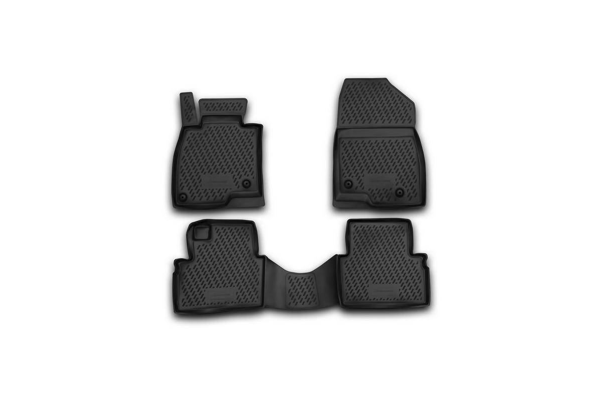 Набор автомобильных ковриков Novline-Autofamily для Mazda 3 2013-, в салон, 4 штВетерок 2ГФНабор автомобильных ковриков Novline-Autofamily, изготовленный из полиуретана, состоит из 4 ковриков, которые учитывают все особенности каждой модели автомобиля и полностью повторяют контуры пола. Полиуретановые автомобильные коврики для салона произведены из высококачественного материала, который держит форму, прочный и не пачкает обувь. Коврики в салон не только улучшат внешний вид салона вашего автомобиля, но и надежно уберегут его от пыли, грязи и сырости, а значит, защитят кузов от коррозии. Полиуретановые коврики для автомобиля гладкие, приятные и не пропускают влагу. Ковры для автомобилей надежно крепятся на полу и не скользят, что очень важно во время движения. Чистятся коврики очень просто: как при помощи автомобильного пылесоса, так и различными моющими средствами. Набор подходит для Mazda 3 с 2013 года выпуска.