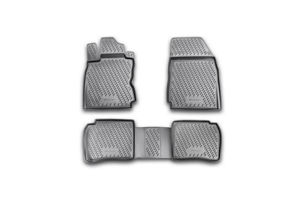 Набор автомобильных ковриков Novline-Autofamily для Nissan Note 2005-, в салон, 4 шт. CARNIS00011VT-1520(SR)Набор автомобильных ковриков Novline-Autofamily, изготовленный из полиуретана, состоит из 4 ковриков, которые учитывают все особенности каждой модели автомобиля и полностью повторяют контуры пола. Полиуретановые автомобильные коврики для салона произведены из высококачественного материала, который держит форму, прочный и не пачкает обувь. Коврики в салон не только улучшат внешний вид салона вашего автомобиля, но и надежно уберегут его от пыли, грязи и сырости, а значит, защитят кузов от коррозии. Полиуретановые коврики для автомобиля гладкие, приятные и не пропускают влагу. Ковры для автомобилей надежно крепятся на полу и не скользят, что очень важно во время движения. Чистятся коврики очень просто: как при помощи автомобильного пылесоса, так и различными моющими средствами. Набор подходит для Nissan Note с 2005 года выпуска.
