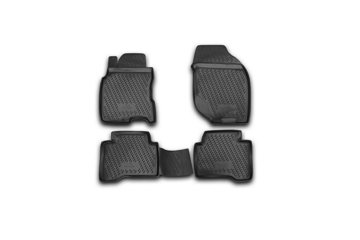 Набор автомобильных ковриков Novline-Autofamily для Nissan X-Trail 2001-2007, в салон, 4 шт. CARNIS00033TEMP-05Набор автомобильных ковриков Novline-Autofamily, изготовленный из полиуретана, состоит из 4 ковриков, которые учитывают все особенности каждой модели автомобиля и полностью повторяют контуры пола. Полиуретановые автомобильные коврики для салона произведены из высококачественного материала, который держит форму, прочный и не пачкает обувь. Коврики в салон не только улучшат внешний вид салона вашего автомобиля, но и надежно уберегут его от пыли, грязи и сырости, а значит, защитят кузов от коррозии. Полиуретановые коврики для автомобиля гладкие, приятные и не пропускают влагу. Ковры для автомобилей надежно крепятся на полу и не скользят, что очень важно во время движения. Чистятся коврики очень просто: как при помощи автомобильного пылесоса, так и различными моющими средствами. Набор подходит для Nissan X-Trail 2001-2007 годов выпуска.