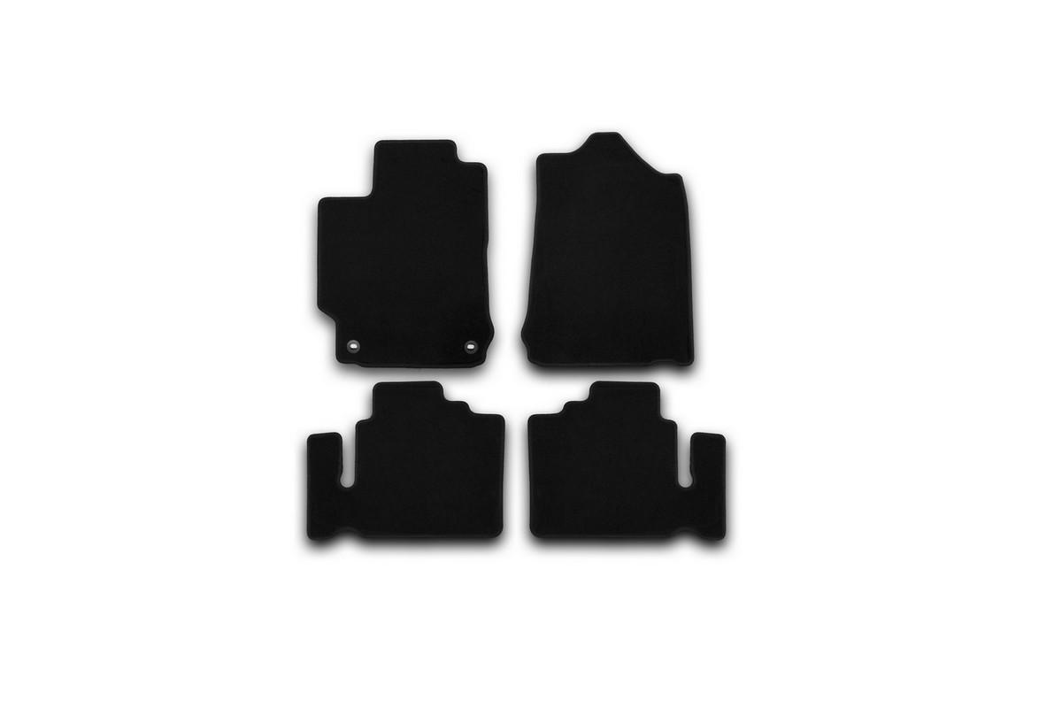 Набор автомобильных ковриков Klever для Toyota Camry 2011-, седан, в салон, 4 шт. KVR01485601200kNLC.29.26.212kНабор автомобильных ковриков Klever, изготовленный из текстиля, состоит из 4 ковриков, которые учитывают все особенности каждой модели автомобиля и полностью повторяют контуры пола. Текстильные автомобильные коврики для салона произведены из высококачественного материала, который держит форму, прочный и не пачкает обувь. Коврики в салон не только улучшат внешний вид салона вашего автомобиля, но и надежно уберегут его от пыли, грязи и сырости, а значит, защитят кузов от коррозии. Текстильные коврики для автомобиля мягкие и приятные, а их основа из вспененного полиуретана не пропускает влагу. Ковры для автомобилей надежно крепятся на полу и не скользят, что очень важно во время движения. Чистятся коврики очень просто: как при помощи автомобильного пылесоса, так и различными моющими средствами. Набор подходит для Toyota Camry седан с 2011 года выпуска.