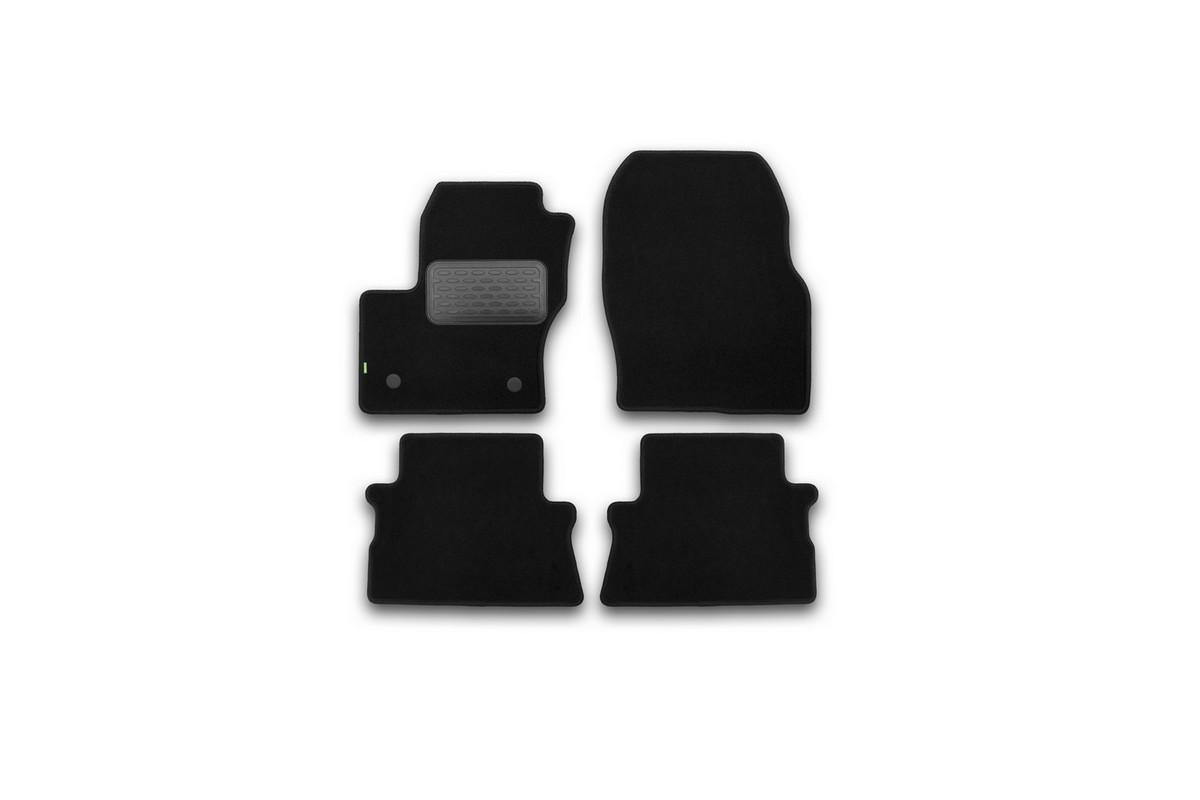 Набор автомобильных ковриков Klever для Ford Kuga 2013-, кроссовер, в салон, 4 шт. KVR02164101210kh54 009312Набор автомобильных ковриков Klever, изготовленный из текстиля, состоит из 4 ковриков, которые учитывают все особенности каждой модели автомобиля и полностью повторяют контуры пола. Текстильные автомобильные коврики для салона произведены из высококачественного материала, который держит форму, прочный и не пачкает обувь. Коврики в салон не только улучшат внешний вид салона вашего автомобиля, но и надежно уберегут его от пыли, грязи и сырости, а значит, защитят кузов от коррозии. Текстильные коврики для автомобиля мягкие и приятные, а их основа из вспененного полиуретана не пропускает влагу. Ковры для автомобилей надежно крепятся на полу и не скользят, что очень важно во время движения. Чистятся коврики очень просто: как при помощи автомобильного пылесоса, так и различными моющими средствами. Набор подходит для Ford Kuga кроссовер с 2013 года выпуска.