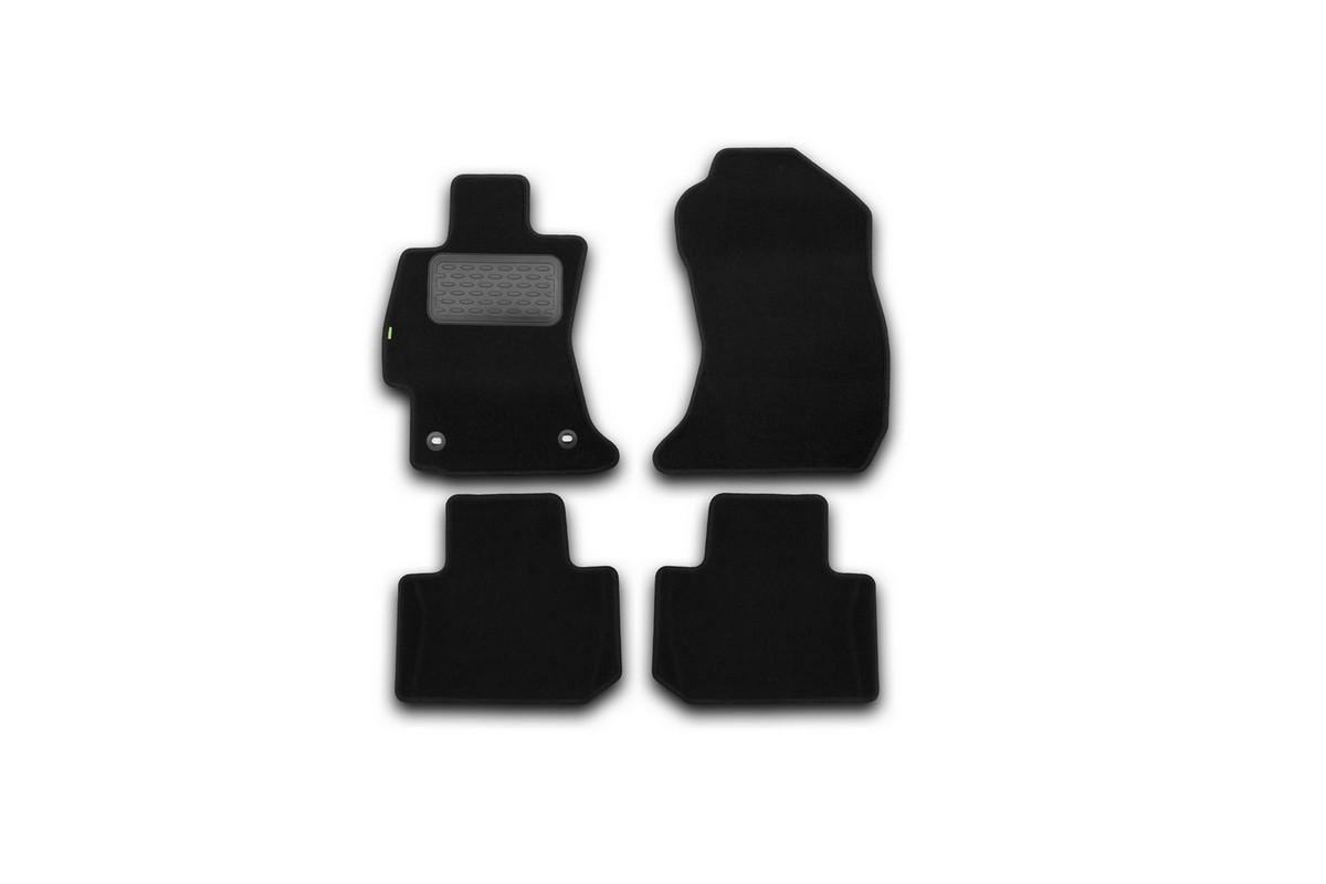 Набор автомобильных ковриков Klever для Subaru Forester 2013-, кроссовер, в салон, 4 шт. KVR02461901210kh15105003Набор автомобильных ковриков Klever, изготовленный из текстиля, состоит из 4 ковриков, которые учитывают все особенности каждой модели автомобиля и полностью повторяют контуры пола. Текстильные автомобильные коврики для салона произведены из высококачественного материала, который держит форму, прочный и не пачкает обувь. Коврики в салон не только улучшат внешний вид салона вашего автомобиля, но и надежно уберегут его от пыли, грязи и сырости, а значит, защитят кузов от коррозии. Текстильные коврики для автомобиля мягкие и приятные, а их основа из вспененного полиуретана не пропускает влагу. Ковры для автомобилей надежно крепятся на полу и не скользят, что очень важно во время движения. Чистятся коврики очень просто: как при помощи автомобильного пылесоса, так и различными моющими средствами. Набор подходит для Subaru Forester кроссовер с 2013 года выпуска.