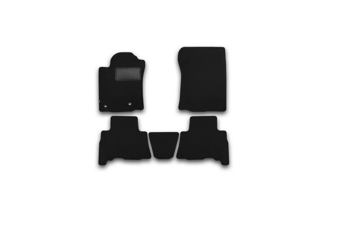Набор автомобильных ковриков Klever для Toyota Land Cruiser 150 2013-2015, 2015-, 5 мест, внедорожник, в салон, 5 шт. KVR03482922110khFS-80264Набор автомобильных ковриков Klever, изготовленный из текстиля, состоит из 5 ковриков, которые учитывают все особенности каждой модели автомобиля и полностью повторяют контуры пола. Текстильные автомобильные коврики для салона произведены из высококачественного материала, который держит форму, прочный и не пачкает обувь. Коврики в салон не только улучшат внешний вид салона вашего автомобиля, но и надежно уберегут его от пыли, грязи и сырости, а значит, защитят кузов от коррозии. Текстильные коврики для автомобиля мягкие и приятные, а их основа из вспененного полиуретана не пропускает влагу. Ковры для автомобилей надежно крепятся на полу и не скользят, что очень важно во время движения. Чистятся коврики очень просто: как при помощи автомобильного пылесоса, так и различными моющими средствами. Набор подходит для Toyota Land Cruiser 150, 5 мест, внедорожник 2013-2015, 2015 и позднее годов выпуска.