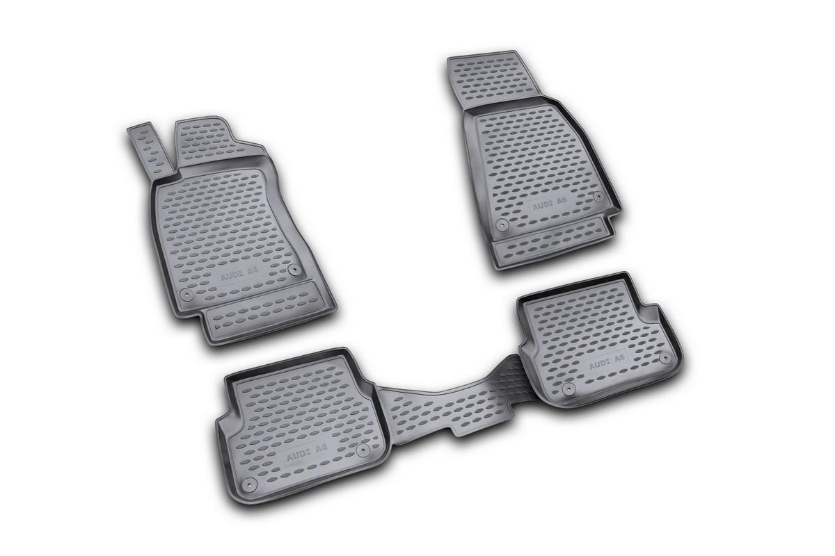 Набор автомобильных ковриков Novline-Autofamily для Audi A-6 2004-2/2005, 3/2006-2011, в салон, цвет: черный, 4 штВетерок 2ГФНабор автомобильных ковриков Novline-Autofamily, изготовленный из полиуретана, состоит из 4 ковриков, которые учитывают все особенности каждой модели автомобиля и полностью повторяют контуры пола. Полиуретановые автомобильные коврики для салона произведены из высококачественного материала, который держит форму, прочный и не пачкает обувь. Коврики в салон не только улучшат внешний вид салона вашего автомобиля, но и надежно уберегут его от пыли, грязи и сырости, а значит, защитят кузов от коррозии. Полиуретановые коврики для автомобиля гладкие, приятные и не пропускают влагу. Ковры для автомобилей надежно крепятся на полу и не скользят, что очень важно во время движения. Чистятся коврики очень просто: как при помощи автомобильного пылесоса, так и различными моющими средствами. Набор подходит для Audi A-6 2004 - февраль 2005, март 2006 - 2011 годов выпуска.