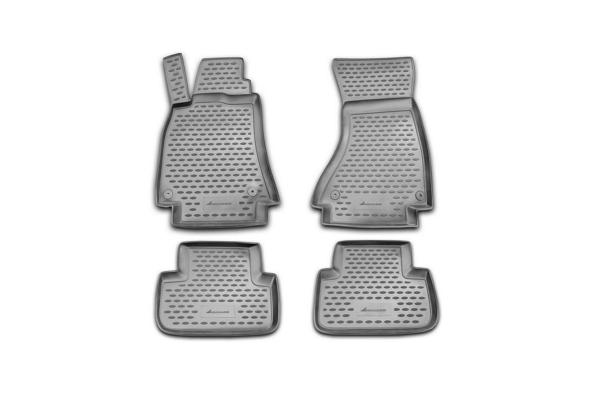 Коврики в салон автомобиля Novline-Autofamily, для AUDI A4 B8, 2007-2015, 4 штВетерок 2ГФКоврики Novline-Autofamily улучшат внешний вид салона автомобиля и надежно уберегут его от пыли, грязи и сырости, а значит, защитят кузов от коррозии. Полиуретановые коврики гладкие, приятные и не пропускает влагу.Полиуретановые автомобильные коврики произведены из высококачественного материала, который держит форму и не пачкает обувь.Коврики надежно крепятся на полу и не скользят, что очень важно во время движения, особенно для водителя.Изделия из полиуретана надежно удерживают грязь и влагу, при этом всегда выглядят довольно опрятно. И чистится они очень просто: как при помощи автомобильного пылесоса, так и различными моющими средствами.