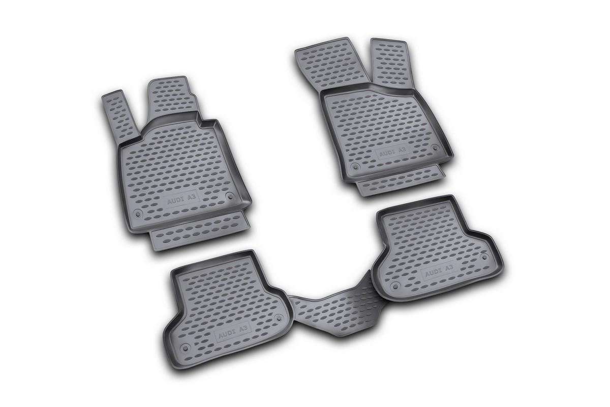 Набор автомобильных ковриков Novline-Autofamily для Audi A-3 3D 2007-, в салон, 4 штCARFRD00019kНабор автомобильных ковриков Novline-Autofamily, изготовленный из полиуретана, состоит из 4 ковриков, которые учитывают все особенности каждой модели автомобиля и полностью повторяют контуры пола. Полиуретановые автомобильные коврики для салона произведены из высококачественного материала, который держит форму, прочный и не пачкает обувь. Коврики в салон не только улучшат внешний вид салона вашего автомобиля, но и надежно уберегут его от пыли, грязи и сырости, а значит, защитят кузов от коррозии. Полиуретановые коврики для автомобиля гладкие, приятные и не пропускают влагу. Ковры для автомобилей надежно крепятся на полу и не скользят, что очень важно во время движения. Чистятся коврики очень просто: как при помощи автомобильного пылесоса, так и различными моющими средствами. Набор подходит для Audi A-3 с 2007 года выпуска.