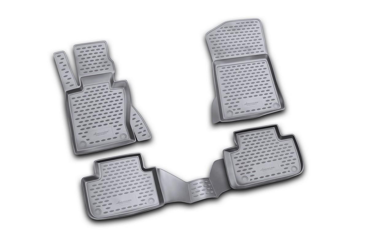 Набор автомобильных ковриков Novline-Autofamily для BMW X3 2008-, в салон, цвет: черный, 4 штSC-FD421005Набор автомобильных ковриков Novline-Autofamily, изготовленный из полиуретана, состоит из 4 ковриков, которые учитывают все особенности каждой модели автомобиля и полностью повторяют контуры пола. Полиуретановые автомобильные коврики для салона произведены из высококачественного материала, который держит форму, прочный и не пачкает обувь. Коврики в салон не только улучшат внешний вид салона вашего автомобиля, но и надежно уберегут его от пыли, грязи и сырости, а значит, защитят кузов от коррозии. Полиуретановые коврики для автомобиля гладкие, приятные и не пропускают влагу. Ковры для автомобилей надежно крепятся на полу и не скользят, что очень важно во время движения. Чистятся коврики очень просто: как при помощи автомобильного пылесоса, так и различными моющими средствами. Набор подходит для BMW X3 с 2008 года выпуска.