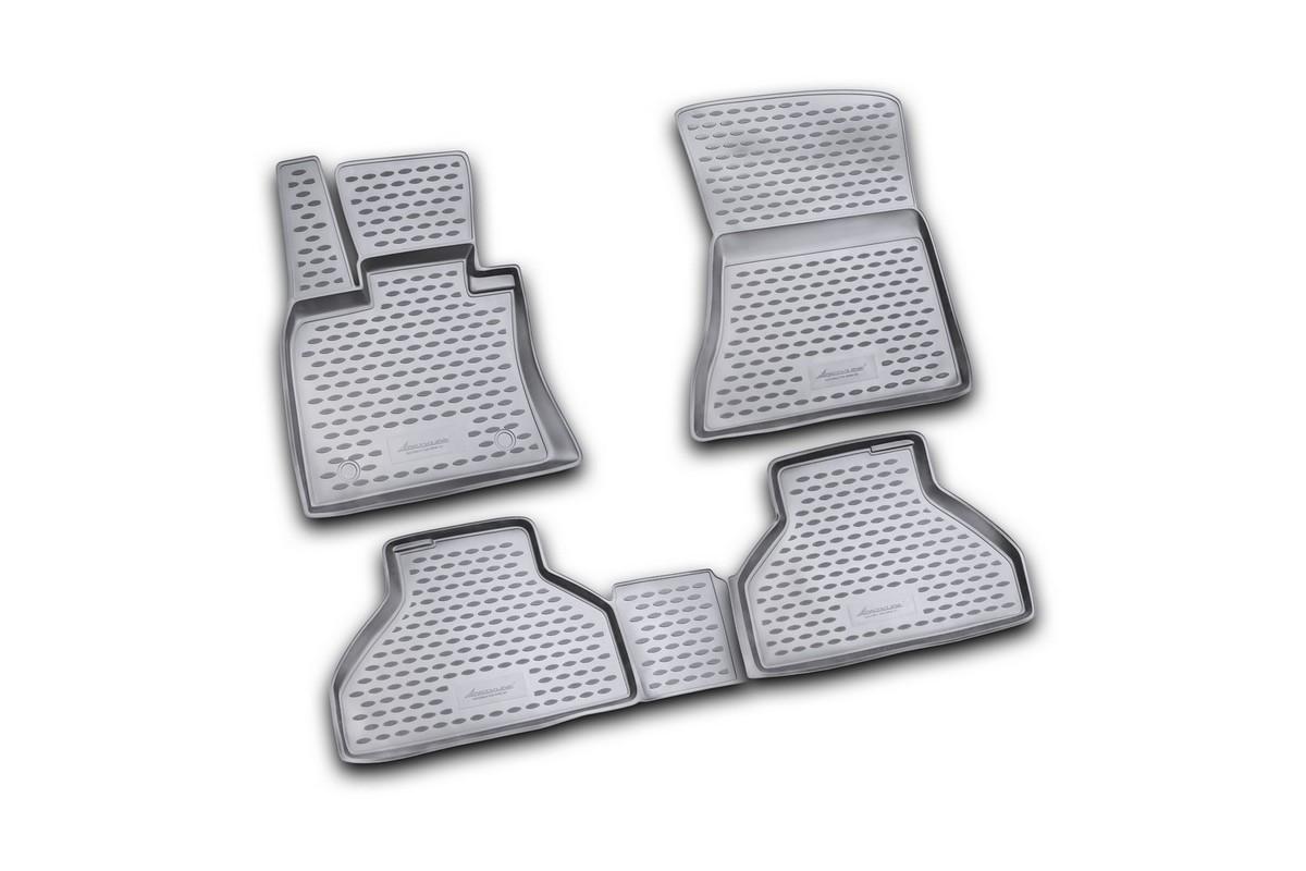 Набор автомобильных ковриков Novline-Autofamily для BMW X5 2007-, в салон, цвет: черный, 4 штNLC.41.26.B10Набор автомобильных ковриков Novline-Autofamily, изготовленный из полиуретана, состоит из 4 ковриков, которые учитывают все особенности каждой модели автомобиля и полностью повторяют контуры пола. Полиуретановые автомобильные коврики для салона произведены из высококачественного материала, который держит форму, прочный и не пачкает обувь. Коврики в салон не только улучшат внешний вид салона вашего автомобиля, но и надежно уберегут его от пыли, грязи и сырости, а значит, защитят кузов от коррозии. Полиуретановые коврики для автомобиля гладкие, приятные и не пропускают влагу. Ковры для автомобилей надежно крепятся на полу и не скользят, что очень важно во время движения. Чистятся коврики очень просто: как при помощи автомобильного пылесоса, так и различными моющими средствами. Набор подходит для BMW X5 с 2007 года выпуска.