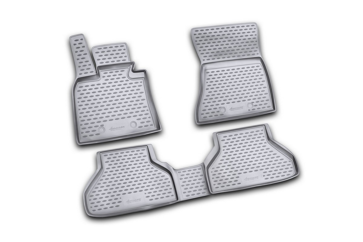 Набор автомобильных ковриков Novline-Autofamily для BMW X6 2009-, в салон, цвет: черный, 4 шт54 009312Набор автомобильных ковриков Novline-Autofamily, изготовленный из полиуретана, состоит из 4 ковриков, которые учитывают все особенности каждой модели автомобиля и полностью повторяют контуры пола. Полиуретановые автомобильные коврики для салона произведены из высококачественного материала, который держит форму, прочный и не пачкает обувь. Коврики в салон не только улучшат внешний вид салона вашего автомобиля, но и надежно уберегут его от пыли, грязи и сырости, а значит, защитят кузов от коррозии. Полиуретановые коврики для автомобиля гладкие, приятные и не пропускают влагу. Ковры для автомобилей надежно крепятся на полу и не скользят, что очень важно во время движения. Чистятся коврики очень просто: как при помощи автомобильного пылесоса, так и различными моющими средствами. Набор подходит для BMW X6 с 2009 года выпуска.