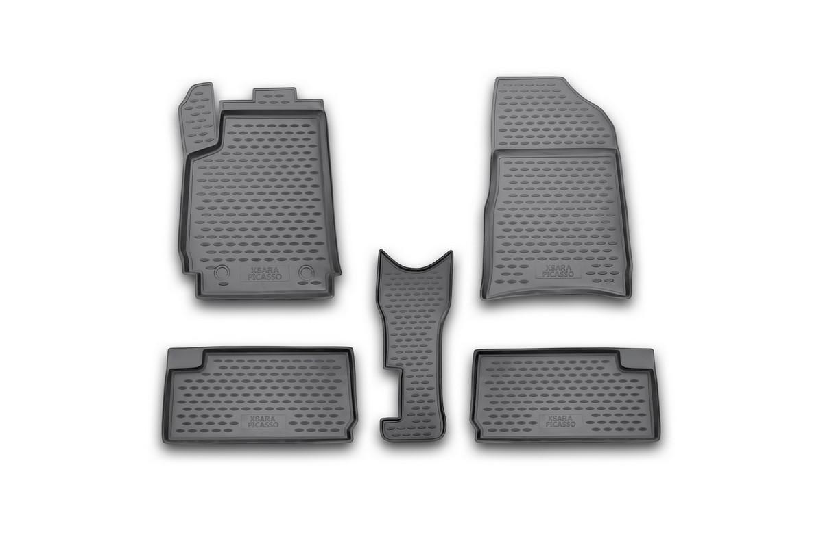 Набор автомобильных ковриков Novline-Autofamily для Citroen Xsara Picasso 1999-, в салон, 5 штFS-80264Набор автомобильных ковриков Novline-Autofamily, изготовленный из полиуретана, состоит из 5 ковриков, которые учитывают все особенности каждой модели автомобиля и полностью повторяют контуры пола. Полиуретановые автомобильные коврики для салона произведены из высококачественного материала, который держит форму, прочный и не пачкает обувь. Коврики в салон не только улучшат внешний вид салона вашего автомобиля, но и надежно уберегут его от пыли, грязи и сырости, а значит, защитят кузов от коррозии. Полиуретановые коврики для автомобиля гладкие, приятные и не пропускают влагу. Ковры для автомобилей надежно крепятся на полу и не скользят, что очень важно во время движения. Чистятся коврики очень просто: как при помощи автомобильного пылесоса, так и различными моющими средствами. Набор подходит для Citroen Xsara Picasso с 1999 года выпуска.