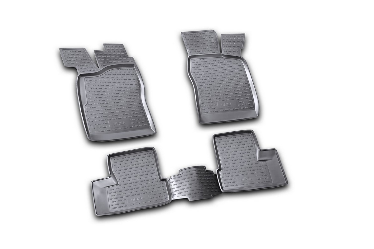 Набор автомобильных ковриков Novline-Autofamily для Daewoo Nexia 1995-2007, в салон, цвет: черный, 4 шт21395599Набор автомобильных ковриков Novline-Autofamily, изготовленный из полиуретана, состоит из 4 ковриков, которые учитывают все особенности каждой модели автомобиля и полностью повторяют контуры пола. Полиуретановые автомобильные коврики для салона произведены из высококачественного материала, который держит форму, прочный и не пачкает обувь. Коврики в салон не только улучшат внешний вид салона вашего автомобиля, но и надежно уберегут его от пыли, грязи и сырости, а значит, защитят кузов от коррозии. Полиуретановые коврики для автомобиля гладкие, приятные и не пропускают влагу. Ковры для автомобилей надежно крепятся на полу и не скользят, что очень важно во время движения. Чистятся коврики очень просто: как при помощи автомобильного пылесоса, так и различными моющими средствами. Набор подходит для Daewoo Nexia 1995-2007 годов выпуска.