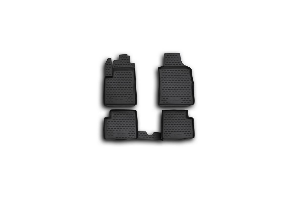 Набор автомобильных ковриков Novline-Autofamily для Fiat 500 08/2008-, в салон, 4 шт21395599Набор автомобильных ковриков Novline-Autofamily, изготовленный из полиуретана, состоит из 4 ковриков, которые учитывают все особенности каждой модели автомобиля и полностью повторяют контуры пола. Полиуретановые автомобильные коврики для салона произведены из высококачественного материала, который держит форму, прочный и не пачкает обувь. Коврики в салон не только улучшат внешний вид салона вашего автомобиля, но и надежно уберегут его от пыли, грязи и сырости, а значит, защитят кузов от коррозии. Полиуретановые коврики для автомобиля гладкие, приятные и не пропускают влагу. Ковры для автомобилей надежно крепятся на полу и не скользят, что очень важно во время движения. Чистятся коврики очень просто: как при помощи автомобильного пылесоса, так и различными моющими средствами. Набор подходит для Fiat 500 с августа 2008 года выпуска.