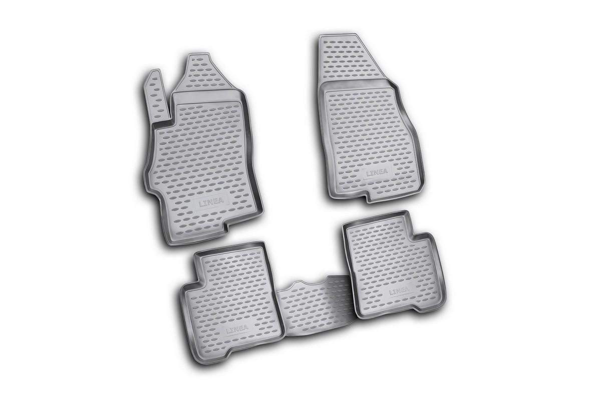 Набор автомобильных ковриков Novline-Autofamily для Fiat Linea 2007-, в салон, 4 шт. NLC.15.19.21021395599Набор автомобильных ковриков Novline-Autofamily, изготовленный из полиуретана, состоит из 4 ковриков, которые учитывают все особенности каждой модели автомобиля и полностью повторяют контуры пола. Полиуретановые автомобильные коврики для салона произведены из высококачественного материала, который держит форму, прочный и не пачкает обувь. Коврики в салон не только улучшат внешний вид салона вашего автомобиля, но и надежно уберегут его от пыли, грязи и сырости, а значит, защитят кузов от коррозии. Полиуретановые коврики для автомобиля гладкие, приятные и не пропускают влагу. Ковры для автомобилей надежно крепятся на полу и не скользят, что очень важно во время движения. Чистятся коврики очень просто: как при помощи автомобильного пылесоса, так и различными моющими средствами. Набор подходит для Fiat Linea с 2007 года выпуска.
