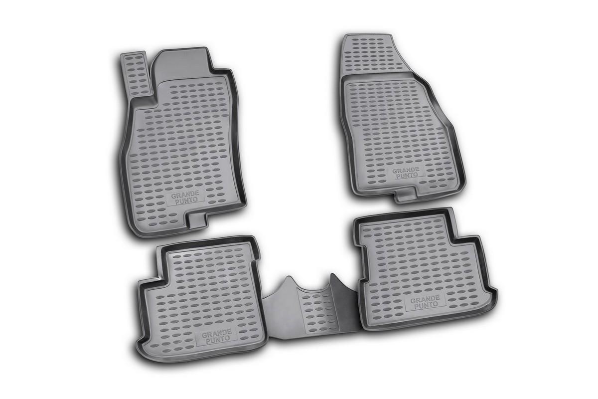 Набор автомобильных ковриков Novline-Autofamily для Fiat Grande Punto 5D 2005-, в салон, 4 штCA-3505Набор автомобильных ковриков Novline-Autofamily, изготовленный из полиуретана, состоит из 4 ковриков, которые учитывают все особенности каждой модели автомобиля и полностью повторяют контуры пола. Полиуретановые автомобильные коврики для салона произведены из высококачественного материала, который держит форму, прочный и не пачкает обувь. Коврики в салон не только улучшат внешний вид салона вашего автомобиля, но и надежно уберегут его от пыли, грязи и сырости, а значит, защитят кузов от коррозии. Полиуретановые коврики для автомобиля гладкие, приятные и не пропускают влагу. Ковры для автомобилей надежно крепятся на полу и не скользят, что очень важно во время движения. Чистятся коврики очень просто: как при помощи автомобильного пылесоса, так и различными моющими средствами. Набор подходит для Fiat Grande Punto 5D с 2005 года выпуска.