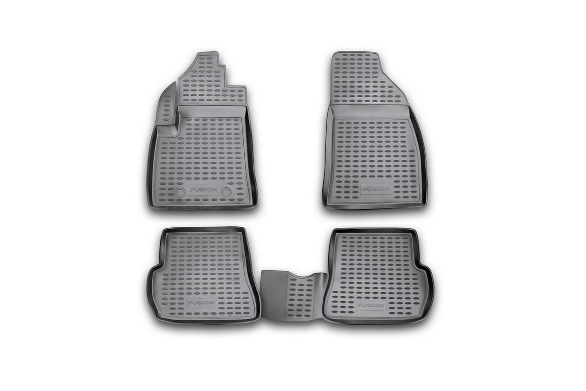 Коврики в салон автомобиля Novline-Autofamily для Ford Fusion 09/2002 -, Fiesta 2002 - 2008, 4 штВетерок 2ГФКоврики Novline-Autofamily улучшат внешний вид салона автомобиля и надежно уберегут его от пыли, грязи и сырости, а значит, защитят кузов от коррозии. Полиуретановые коврики гладкие, приятные и не пропускает влагу. Полиуретановые автомобильные коврики произведены из высококачественного материала, который держит форму и не пачкает обувь. Коврики надежно крепятся на полу и не скользят, что очень важно во время движения, особенно для водителя. Изделия из полиуретана надежно удерживают грязь и влагу, при этом всегда выглядят довольно опрятно. И чистятся они очень просто: как при помощи автомобильного пылесоса, так и различными моющими средствами.