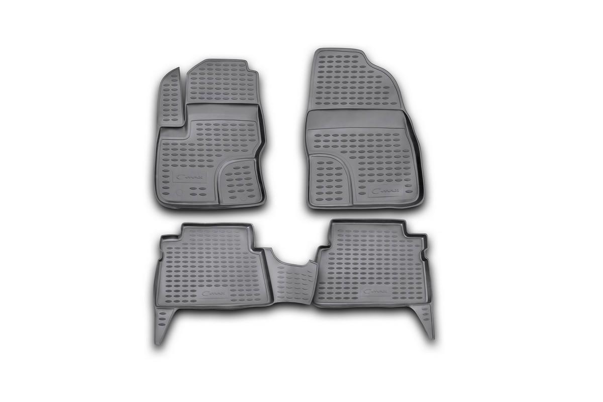 Коврики в салон автомобиля Novline-Autofamily для Ford C -Max, 2003 -, 4 шт. Nlc.16.07.210Аксион Т-33Коврики Novline-Autofamily улучшат внешний вид салона автомобиля и надежно уберегут его от пыли, грязи и сырости, а значит, защитят кузов от коррозии. Полиуретановые коврики гладкие, приятные и не пропускает влагу. Полиуретановые автомобильные коврики произведены из высококачественного материала, который держит форму и не пачкает обувь. Коврики надежно крепятся на полу и не скользят, что очень важно во время движения, особенно для водителя. Изделия из полиуретана надежно удерживают грязь и влагу, при этом всегда выглядят довольно опрятно. И чистятся они очень просто: как при помощи автомобильного пылесоса, так и различными моющими средствами.