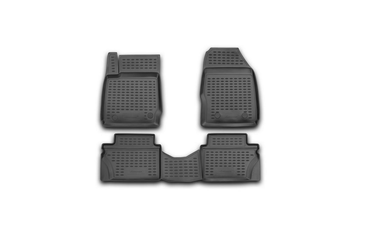 Набор автомобильных ковриков Novline-Autofamily для Ford Fiesta 2008-2011, в салон, 4 шт. NLC.16.23.210kLGT.76.02.B13Набор автомобильных ковриков Novline-Autofamily, изготовленный из полиуретана, состоит из 4 ковриков, которые учитывают все особенности каждой модели автомобиля и полностью повторяют контуры пола. Полиуретановые автомобильные коврики для салона произведены из высококачественного материала, который держит форму, прочный и не пачкает обувь. Коврики в салон не только улучшат внешний вид салона вашего автомобиля, но и надежно уберегут его от пыли, грязи и сырости, а значит, защитят кузов от коррозии. Полиуретановые коврики для автомобиля гладкие, приятные и не пропускают влагу. Ковры для автомобилей надежно крепятся на полу и не скользят, что очень важно во время движения. Чистятся коврики очень просто: как при помощи автомобильного пылесоса, так и различными моющими средствами. Набор подходит для Ford Fiesta 2008-2011 годов выпуска.