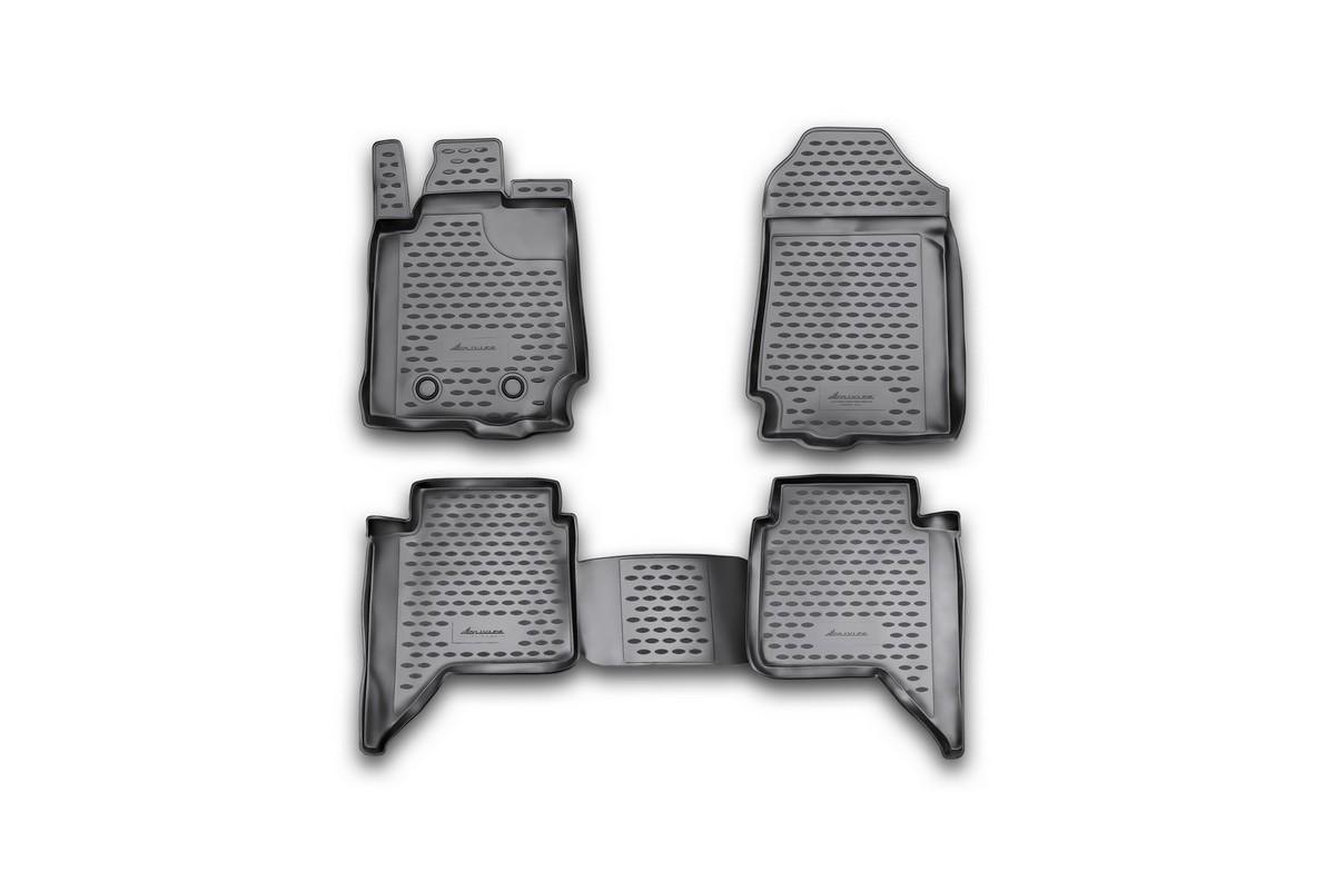 Набор автомобильных ковриков Novline-Autofamily для Ford Ranger, 4 doors 2011-, в салон, 4 шт. NLC.16.34.210kNLC.16.34.210kНабор автомобильных ковриков Novline-Autofamily, изготовленный из полиуретана, состоит из 4 ковриков, которые учитывают все особенности каждой модели автомобиля и полностью повторяют контуры пола. Полиуретановые автомобильные коврики для салона произведены из высококачественного материала, который держит форму, прочный и не пачкает обувь. Коврики в салон не только улучшат внешний вид салона вашего автомобиля, но и надежно уберегут его от пыли, грязи и сырости, а значит, защитят кузов от коррозии. Полиуретановые коврики для автомобиля гладкие, приятные и не пропускают влагу. Ковры для автомобилей надежно крепятся на полу и не скользят, что очень важно во время движения. Чистятся коврики очень просто: как при помощи автомобильного пылесоса, так и различными моющими средствами. Набор подходит для Ford Ranger, 4 doors с 2011 года выпуска.