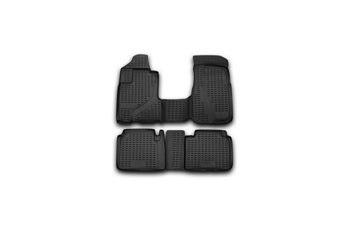 Набор автомобильных ковриков Novline-Autofamily для Honda CR-V 2002-2006, в салон, цвет: черный, 4 штFS-80264Набор автомобильных ковриков Novline-Autofamily, изготовленный из полиуретана, состоит из 4 ковриков, которые учитывают все особенности каждой модели автомобиля и полностью повторяют контуры пола. Полиуретановые автомобильные коврики для салона произведены из высококачественного материала, который держит форму, прочный и не пачкает обувь. Коврики в салон не только улучшат внешний вид салона вашего автомобиля, но и надежно уберегут его от пыли, грязи и сырости, а значит, защитят кузов от коррозии. Полиуретановые коврики для автомобиля гладкие, приятные и не пропускают влагу. Ковры для автомобилей надежно крепятся на полу и не скользят, что очень важно во время движения. Чистятся коврики очень просто: как при помощи автомобильного пылесоса, так и различными моющими средствами. Набор подходит для Honda CR-V 2002-2006 годов выпуска.