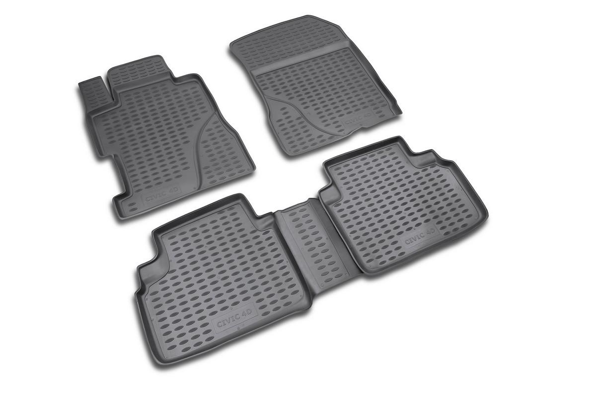 Набор автомобильных ковриков Novline-Autofamily для Honda Civic 4D 2006-, в салон, 4 шт300194_фиолетовый/веткаНабор автомобильных ковриков Novline-Autofamily, изготовленный из полиуретана, состоит из 4 ковриков, которые учитывают все особенности каждой модели автомобиля и полностью повторяют контуры пола. Полиуретановые автомобильные коврики для салона произведены из высококачественного материала, который держит форму, прочный и не пачкает обувь. Коврики в салон не только улучшат внешний вид салона вашего автомобиля, но и надежно уберегут его от пыли, грязи и сырости, а значит, защитят кузов от коррозии. Полиуретановые коврики для автомобиля гладкие, приятные и не пропускают влагу. Ковры для автомобилей надежно крепятся на полу и не скользят, что очень важно во время движения. Чистятся коврики очень просто: как при помощи автомобильного пылесоса, так и различными моющими средствами. Набор подходит для Honda Civic 4D с 2006 года выпуска.
