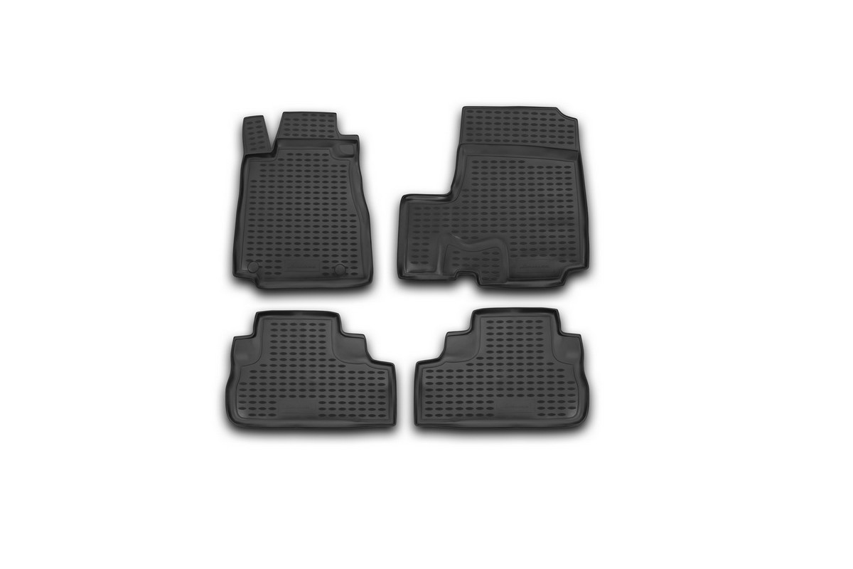 Набор автомобильных ковриков Novline-Autofamily для Honda CR-V III 2007-, в салон, цвет: черный, оранжевый, 4 шт300144Набор автомобильных ковриков Novline-Autofamily, изготовленный из полиуретана, состоит из 4 ковриков, которые учитывают все особенности каждой модели автомобиля и полностью повторяют контуры пола. Полиуретановые автомобильные коврики для салона произведены из высококачественного материала, который держит форму, прочный и не пачкает обувь. Коврики в салон не только улучшат внешний вид салона вашего автомобиля, но и надежно уберегут его от пыли, грязи и сырости, а значит, защитят кузов от коррозии. Полиуретановые коврики для автомобиля гладкие, приятные и не пропускают влагу. Ковры для автомобилей надежно крепятся на полу и не скользят, что очень важно во время движения. Чистятся коврики очень просто: как при помощи автомобильного пылесоса, так и различными моющими средствами. Набор подходит для Honda CR-V III с 2007 года выпуска.