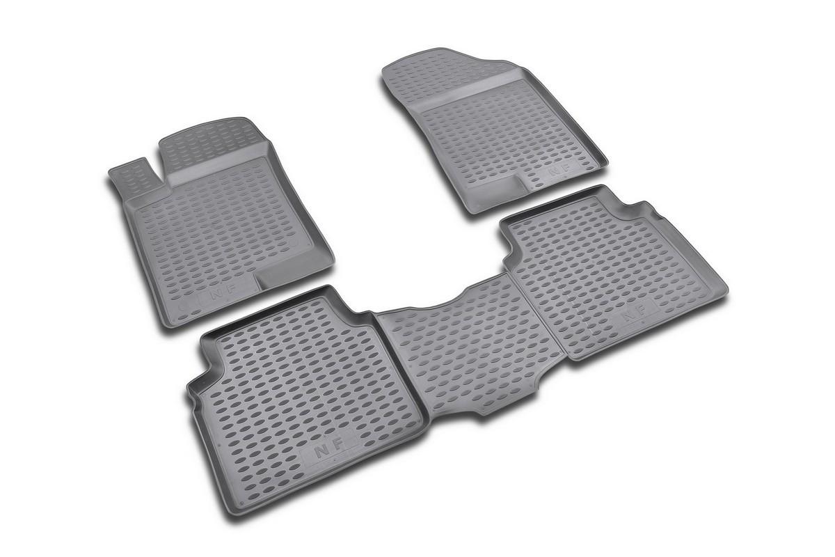 Набор автомобильных ковриков Novline-Autofamily для Hyundai NF 2004-, в салон, 4 штCA-3505Набор автомобильных ковриков Novline-Autofamily, изготовленный из полиуретана, состоит из 4 ковриков, которые учитывают все особенности каждой модели автомобиля и полностью повторяют контуры пола. Полиуретановые автомобильные коврики для салона произведены из высококачественного материала, который держит форму, прочный и не пачкает обувь. Коврики в салон не только улучшат внешний вид салона вашего автомобиля, но и надежно уберегут его от пыли, грязи и сырости, а значит, защитят кузов от коррозии. Полиуретановые коврики для автомобиля гладкие, приятные и не пропускают влагу. Ковры для автомобилей надежно крепятся на полу и не скользят, что очень важно во время движения. Чистятся коврики очень просто: как при помощи автомобильного пылесоса, так и различными моющими средствами. Набор подходит для Hyundai NF 2004 года выпуска.