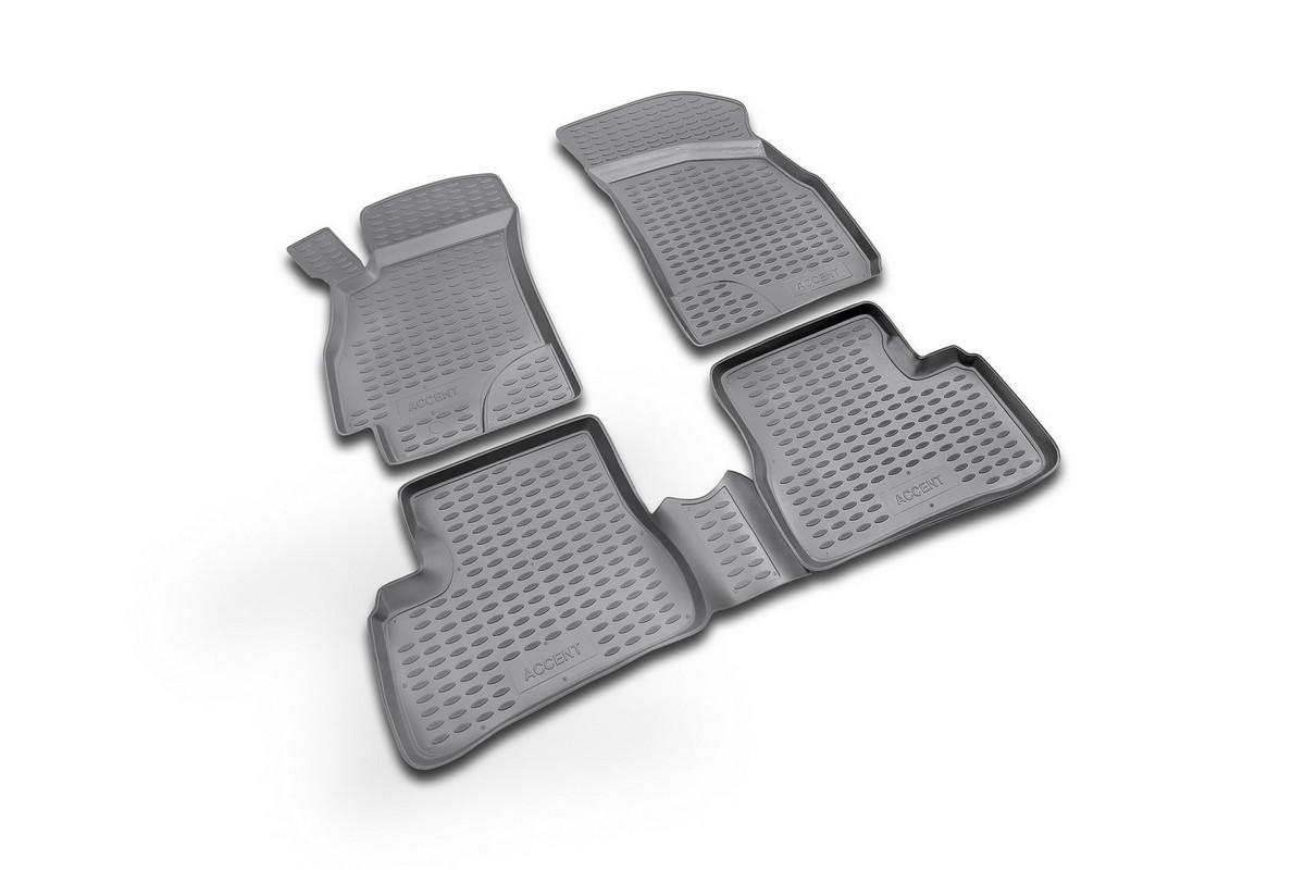Набор автомобильных ковриков Novline-Autofamily для Hyundai Accent 2000-2005, в салон, цвет: черный, 4 штNLC.20.07.210Набор автомобильных ковриков Novline-Autofamily, изготовленный из полиуретана, состоит из 4 ковриков, которые учитывают все особенности каждой модели автомобиля и полностью повторяют контуры пола. Полиуретановые автомобильные коврики для салона произведены из высококачественного материала, который держит форму, прочный и не пачкает обувь. Коврики в салон не только улучшат внешний вид салона вашего автомобиля, но и надежно уберегут его от пыли, грязи и сырости, а значит, защитят кузов от коррозии. Полиуретановые коврики для автомобиля гладкие, приятные и не пропускают влагу. Ковры для автомобилей надежно крепятся на полу и не скользят, что очень важно во время движения. Чистятся коврики очень просто: как при помощи автомобильного пылесоса, так и различными моющими средствами. Набор подходит для Hyundai Accent 2000-2005 годов выпуска.