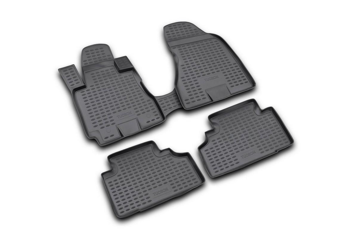 Набор автомобильных ковриков Novline-Autofamily для Hyundai Tucson 2004-2009, в салон, 4 шт300159Набор автомобильных ковриков Novline-Autofamily, изготовленный из полиуретана, состоит из 4 ковриков, которые учитывают все особенности каждой модели автомобиля и полностью повторяют контуры пола. Полиуретановые автомобильные коврики для салона произведены из высококачественного материала, который держит форму, прочный и не пачкает обувь. Коврики в салон не только улучшат внешний вид салона вашего автомобиля, но и надежно уберегут его от пыли, грязи и сырости, а значит, защитят кузов от коррозии. Полиуретановые коврики для автомобиля гладкие, приятные и не пропускают влагу. Ковры для автомобилей надежно крепятся на полу и не скользят, что очень важно во время движения. Чистятся коврики очень просто: как при помощи автомобильного пылесоса, так и различными моющими средствами. Набор подходит для Hyundai Tucson 2004-2009 годов выпуска.