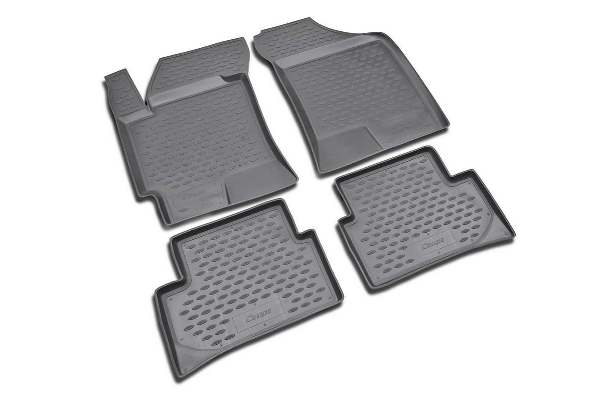 Набор автомобильных ковриков Novline-Autofamily для Hyundai Coupe 2001-, в салон, 4 штKVR02203601210khНабор автомобильных ковриков Novline-Autofamily, изготовленный из полиуретана, состоит из 4 ковриков, которые учитывают все особенности каждой модели автомобиля и полностью повторяют контуры пола. Полиуретановые автомобильные коврики для салона произведены из высококачественного материала, который держит форму, прочный и не пачкает обувь. Коврики в салон не только улучшат внешний вид салона вашего автомобиля, но и надежно уберегут его от пыли, грязи и сырости, а значит, защитят кузов от коррозии. Полиуретановые коврики для автомобиля гладкие, приятные и не пропускают влагу. Ковры для автомобилей надежно крепятся на полу и не скользят, что очень важно во время движения. Чистятся коврики очень просто: как при помощи автомобильного пылесоса, так и различными моющими средствами. Набор подходит для Hyundai Coupe с 2001 года выпуска.