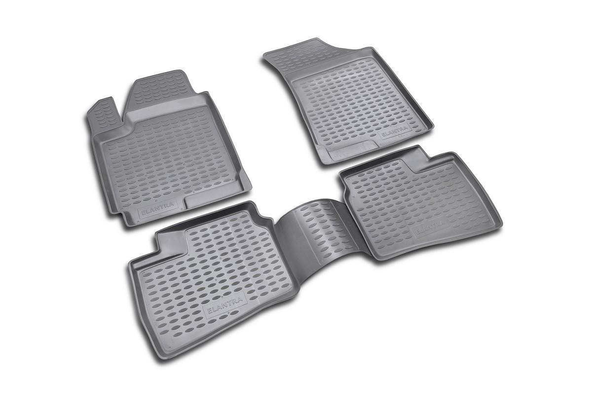 Набор автомобильных ковриков Novline-Autofamily для Hyundai Elantra 2007-, в салон, цвет: черный, 4 штLGT.25.2A.210Набор автомобильных ковриков Novline-Autofamily, изготовленный из полиуретана, состоит из 4 ковриков, которые учитывают все особенности каждой модели автомобиля и полностью повторяют контуры пола. Полиуретановые автомобильные коврики для салона произведены из высококачественного материала, который держит форму, прочный и не пачкает обувь. Коврики в салон не только улучшат внешний вид салона вашего автомобиля, но и надежно уберегут его от пыли, грязи и сырости, а значит, защитят кузов от коррозии. Полиуретановые коврики для автомобиля гладкие, приятные и не пропускают влагу. Ковры для автомобилей надежно крепятся на полу и не скользят, что очень важно во время движения. Чистятся коврики очень просто: как при помощи автомобильного пылесоса, так и различными моющими средствами. Набор подходит для Hyundai Elantra c 2007 года выпуска.