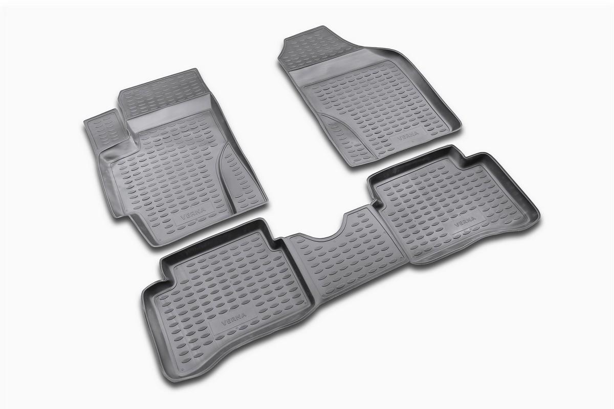 Набор автомобильных ковриков Novline-Autofamily для Hyundai Verna 2006-, в салон, 4 штВетерок 2ГФНабор автомобильных ковриков Novline-Autofamily, изготовленный из полиуретана, состоит из 4 ковриков, которые учитывают все особенности каждой модели автомобиля и полностью повторяют контуры пола. Полиуретановые автомобильные коврики для салона произведены из высококачественного материала, который держит форму, прочный и не пачкает обувь. Коврики в салон не только улучшат внешний вид салона вашего автомобиля, но и надежно уберегут его от пыли, грязи и сырости, а значит, защитят кузов от коррозии. Полиуретановые коврики для автомобиля гладкие, приятные и не пропускают влагу. Ковры для автомобилей надежно крепятся на полу и не скользят, что очень важно во время движения. Чистятся коврики очень просто: как при помощи автомобильного пылесоса, так и различными моющими средствами. Набор подходит для Hyundai Verna с 2006 года выпуска.
