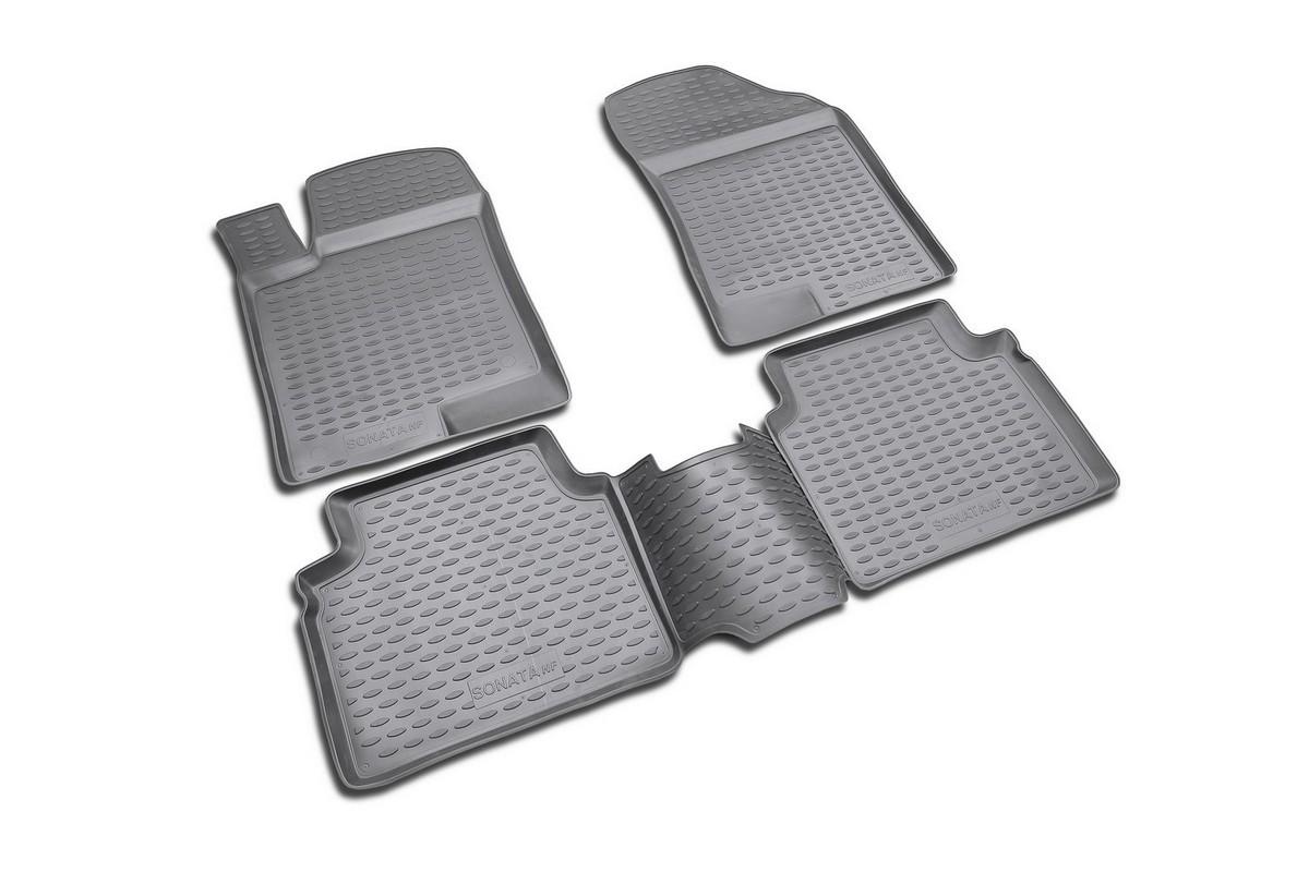 Набор автомобильных ковриков Novline-Autofamily для Hyundai NF Sonata 2008-, в салон, 4 штNLT.36.37.22.110khНабор автомобильных ковриков Novline-Autofamily, изготовленный из полиуретана, состоит из 4 ковриков, которые учитывают все особенности каждой модели автомобиля и полностью повторяют контуры пола. Полиуретановые автомобильные коврики для салона произведены из высококачественного материала, который держит форму, прочный и не пачкает обувь. Коврики в салон не только улучшат внешний вид салона вашего автомобиля, но и надежно уберегут его от пыли, грязи и сырости, а значит, защитят кузов от коррозии. Полиуретановые коврики для автомобиля гладкие, приятные и не пропускают влагу. Ковры для автомобилей надежно крепятся на полу и не скользят, что очень важно во время движения. Чистятся коврики очень просто: как при помощи автомобильного пылесоса, так и различными моющими средствами. Набор подходит для Hyundai NF Sonata с 2008 года выпуска.