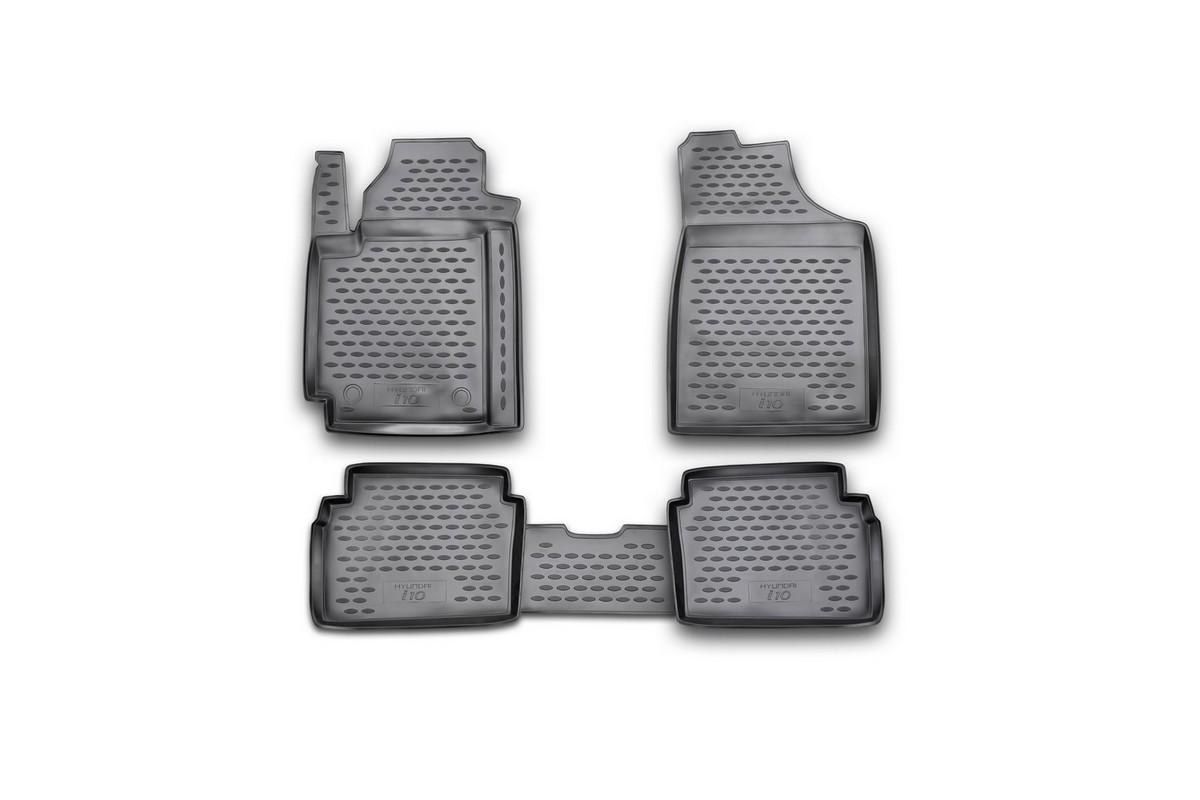 Набор автомобильных ковриков Novline-Autofamily для Hyundai i 10 2008-, в салон, 4 штNLC.35.03.210Набор автомобильных ковриков Novline-Autofamily, изготовленный из полиуретана, состоит из 4 ковриков, которые учитывают все особенности каждой модели автомобиля и полностью повторяют контуры пола. Полиуретановые автомобильные коврики для салона произведены из высококачественного материала, который держит форму, прочный и не пачкает обувь. Коврики в салон не только улучшат внешний вид салона вашего автомобиля, но и надежно уберегут его от пыли, грязи и сырости, а значит, защитят кузов от коррозии. Полиуретановые коврики для автомобиля гладкие, приятные и не пропускают влагу. Ковры для автомобилей надежно крепятся на полу и не скользят, что очень важно во время движения. Чистятся коврики очень просто: как при помощи автомобильного пылесоса, так и различными моющими средствами. Набор подходит для Hyundai i 10 с 2008 года выпуска.