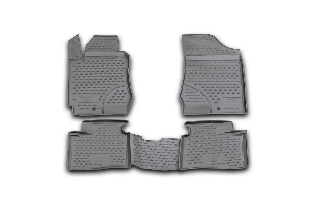 Набор автомобильных ковриков Novline-Autofamily для Hyundai i30 2007-, в салон, 4 шт. NLC.20.28.210hCA-3505Набор автомобильных ковриков Novline-Autofamily, изготовленный из полиуретана, состоит из 4 ковриков, которые учитывают все особенности каждой модели автомобиля и полностью повторяют контуры пола. Полиуретановые автомобильные коврики для салона произведены из высококачественного материала, который держит форму, прочный и не пачкает обувь. Коврики в салон не только улучшат внешний вид салона вашего автомобиля, но и надежно уберегут его от пыли, грязи и сырости, а значит, защитят кузов от коррозии. Полиуретановые коврики для автомобиля гладкие, приятные и не пропускают влагу. Ковры для автомобилей надежно крепятся на полу и не скользят, что очень важно во время движения. Чистятся коврики очень просто: как при помощи автомобильного пылесоса, так и различными моющими средствами. Набор подходит для Hyundai i30 с 2007 года выпуска.