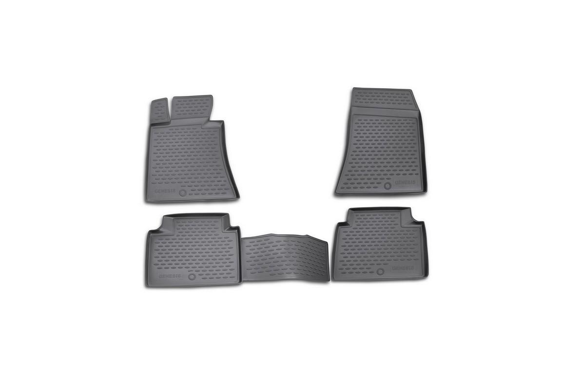 Набор автомобильных ковриков Novline-Autofamily для Hyundai Genesis 2008-, в салон, цвет: черный, 4 шт94672Набор автомобильных ковриков Novline-Autofamily, изготовленный из полиуретана, состоит из 4 ковриков, которые учитывают все особенности каждой модели автомобиля и полностью повторяют контуры пола. Полиуретановые автомобильные коврики для салона произведены из высококачественного материала, который держит форму, прочный и не пачкает обувь. Коврики в салон не только улучшат внешний вид салона вашего автомобиля, но и надежно уберегут его от пыли, грязи и сырости, а значит, защитят кузов от коррозии. Полиуретановые коврики для автомобиля гладкие, приятные и не пропускают влагу. Ковры для автомобилей надежно крепятся на полу и не скользят, что очень важно во время движения. Чистятся коврики очень просто: как при помощи автомобильного пылесоса, так и различными моющими средствами. Набор подходит для Hyundai Genesis с 2008 года выпуска.