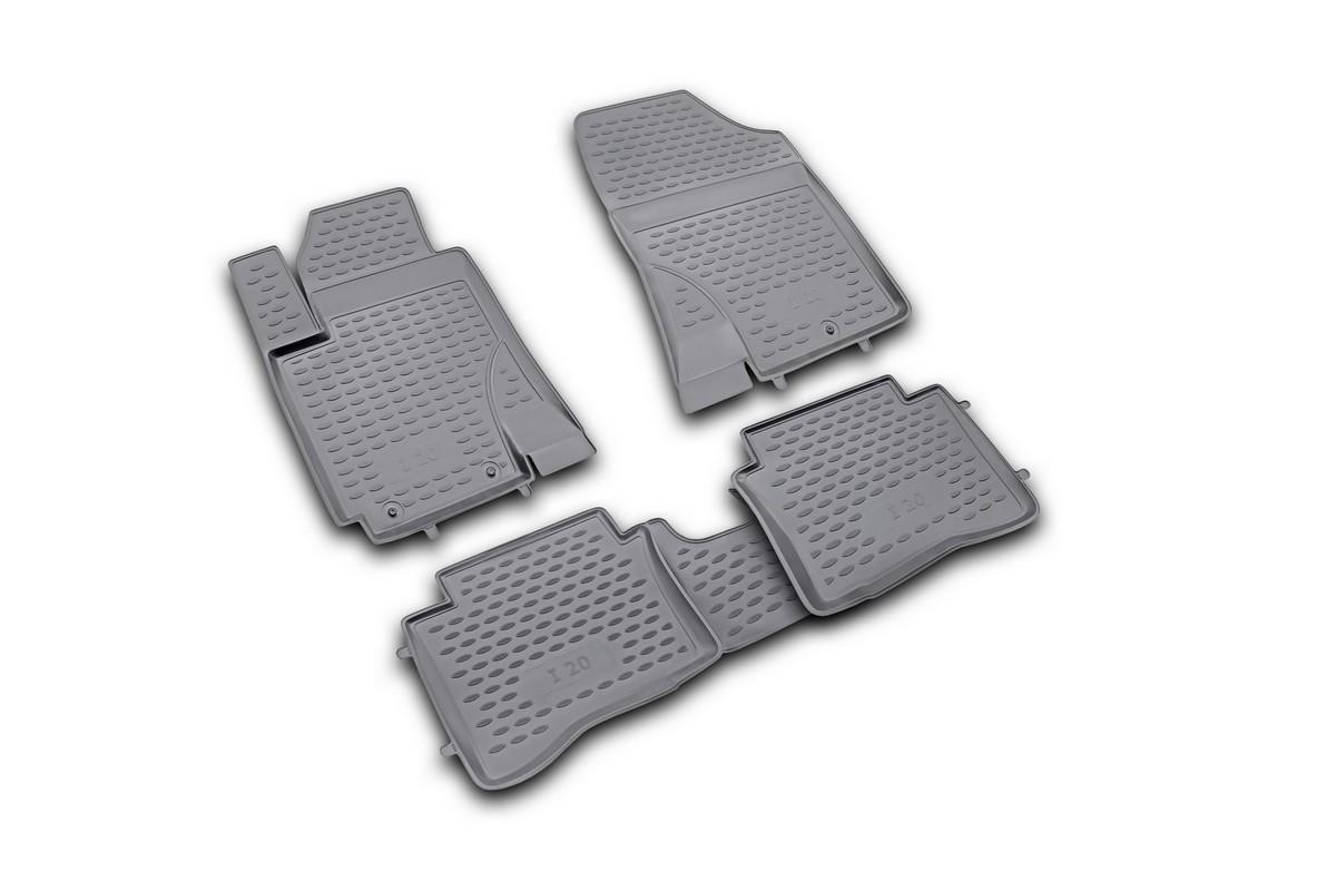 Набор автомобильных ковриков Novline-Autofamily для Hyundai i20 2009-, в салон, 4 шт. NLC.20.32.210DW90Набор автомобильных ковриков Novline-Autofamily, изготовленный из полиуретана, состоит из 4 ковриков, которые учитывают все особенности каждой модели автомобиля и полностью повторяют контуры пола. Полиуретановые автомобильные коврики для салона произведены из высококачественного материала, который держит форму, прочный и не пачкает обувь. Коврики в салон не только улучшат внешний вид салона вашего автомобиля, но и надежно уберегут его от пыли, грязи и сырости, а значит, защитят кузов от коррозии. Полиуретановые коврики для автомобиля гладкие, приятные и не пропускают влагу. Ковры для автомобилей надежно крепятся на полу и не скользят, что очень важно во время движения. Чистятся коврики очень просто: как при помощи автомобильного пылесоса, так и различными моющими средствами. Набор подходит для Hyundai i20 с 2009 года выпуска.