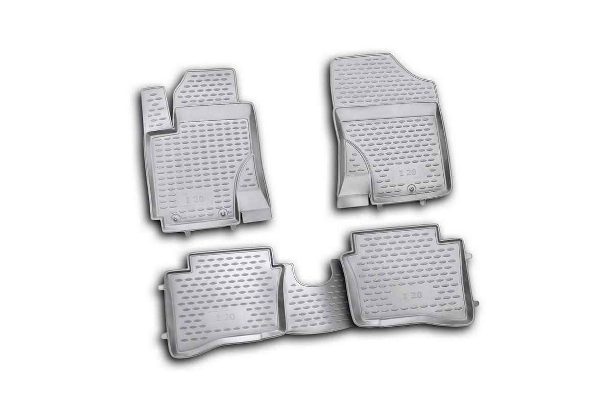 Набор автомобильных ковриков Novline-Autofamily для Hyundai i20 2009-, в салон, 4 шт. NLC.20.32.210h80621Набор автомобильных ковриков Novline-Autofamily, изготовленный из полиуретана, состоит из 4 ковриков, которые учитывают все особенности каждой модели автомобиля и полностью повторяют контуры пола. Полиуретановые автомобильные коврики для салона произведены из высококачественного материала, который держит форму, прочный и не пачкает обувь. Коврики в салон не только улучшат внешний вид салона вашего автомобиля, но и надежно уберегут его от пыли, грязи и сырости, а значит, защитят кузов от коррозии. Полиуретановые коврики для автомобиля гладкие, приятные и не пропускают влагу. Ковры для автомобилей надежно крепятся на полу и не скользят, что очень важно во время движения. Чистятся коврики очень просто: как при помощи автомобильного пылесоса, так и различными моющими средствами. Набор подходит для Hyundai i20 с 2009 года выпуска.