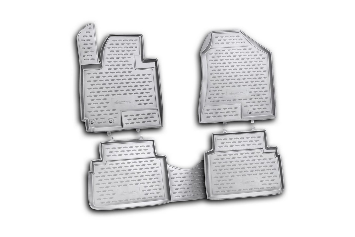 Набор автомобильных ковриков Novline-Autofamily для Hyundai ix35 2010-, в салон, 4 штNLC.20.36.210khНабор автомобильных ковриков Novline-Autofamily, изготовленный из полиуретана, состоит из 4 ковриков, которые учитывают все особенности каждой модели автомобиля и полностью повторяют контуры пола. Полиуретановые автомобильные коврики для салона произведены из высококачественного материала, который держит форму, прочный и не пачкает обувь. Коврики в салон не только улучшат внешний вид салона вашего автомобиля, но и надежно уберегут его от пыли, грязи и сырости, а значит, защитят кузов от коррозии. Полиуретановые коврики для автомобиля гладкие, приятные и не пропускают влагу. Ковры для автомобилей надежно крепятся на полу и не скользят, что очень важно во время движения. Чистятся коврики очень просто: как при помощи автомобильного пылесоса, так и различными моющими средствами. Набор подходит для Hyundai ix35 с 2010 года выпуска.