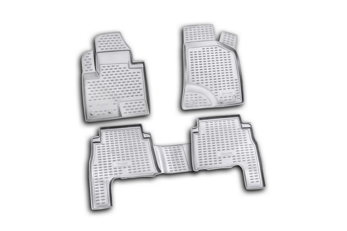 Набор автомобильных ковриков Novline-Autofamily для Hyundai Santa Fe 05/2010-, в салон, цвет: черный, 4 штLGT.25.2A.210Набор автомобильных ковриков Novline-Autofamily, изготовленный из полиуретана, состоит из 4 ковриков, которые учитывают все особенности каждой модели автомобиля и полностью повторяют контуры пола. Полиуретановые автомобильные коврики для салона произведены из высококачественного материала, который держит форму, прочный и не пачкает обувь. Коврики в салон не только улучшат внешний вид салона вашего автомобиля, но и надежно уберегут его от пыли, грязи и сырости, а значит, защитят кузов от коррозии. Полиуретановые коврики для автомобиля гладкие, приятные и не пропускают влагу. Ковры для автомобилей надежно крепятся на полу и не скользят, что очень важно во время движения. Чистятся коврики очень просто: как при помощи автомобильного пылесоса, так и различными моющими средствами. Набор подходит для Hyundai Santa Fe с мая 2010 года выпуска.