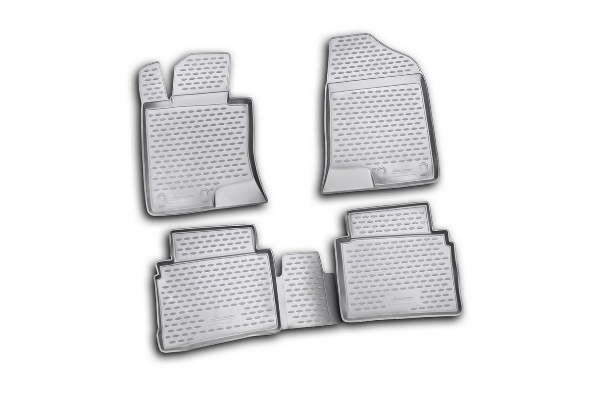Набор автомобильных ковриков Novline-Autofamily для Hyundai Sonata 2010-, в салон, 4 штDW90Набор автомобильных ковриков Novline-Autofamily, изготовленный из полиуретана, состоит из 4 ковриков, которые учитывают все особенности каждой модели автомобиля и полностью повторяют контуры пола. Полиуретановые автомобильные коврики для салона произведены из высококачественного материала, который держит форму, прочный и не пачкает обувь. Коврики в салон не только улучшат внешний вид салона вашего автомобиля, но и надежно уберегут его от пыли, грязи и сырости, а значит, защитят кузов от коррозии. Полиуретановые коврики для автомобиля гладкие, приятные и не пропускают влагу. Ковры для автомобилей надежно крепятся на полу и не скользят, что очень важно во время движения. Чистятся коврики очень просто: как при помощи автомобильного пылесоса, так и различными моющими средствами. Набор подходит для Hyundai Sonata с 2010 года выпуска.