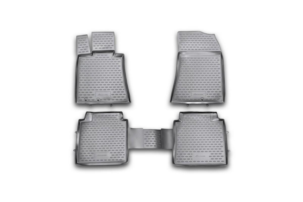 Набор автомобильных ковриков Novline-Autofamily для Hyundai Equus 2010-, в салон, 4 шт0113010201Набор автомобильных ковриков Novline-Autofamily, изготовленный из полиуретана, состоит из 4 ковриков, которые учитывают все особенности каждой модели автомобиля и полностью повторяют контуры пола. Полиуретановые автомобильные коврики для салона произведены из высококачественного материала, который держит форму, прочный и не пачкает обувь. Коврики в салон не только улучшат внешний вид салона вашего автомобиля, но и надежно уберегут его от пыли, грязи и сырости, а значит, защитят кузов от коррозии. Полиуретановые коврики для автомобиля гладкие, приятные и не пропускают влагу. Ковры для автомобилей надежно крепятся на полу и не скользят, что очень важно во время движения. Чистятся коврики очень просто: как при помощи автомобильного пылесоса, так и различными моющими средствами. Набор подходит для Hyundai Equus с 2010 года выпуска.